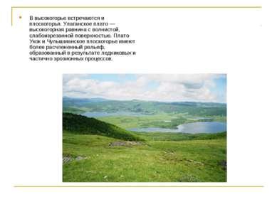 В высокогорье встречаются и плоскогорья. Улаганское плато — высокогорная равн...