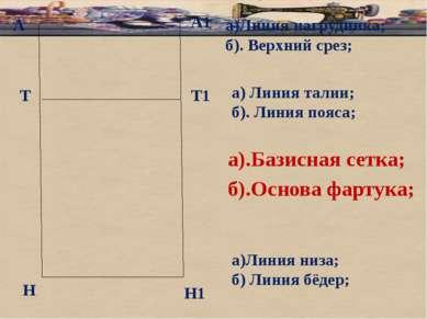 А а).Базисная сетка; б).Основа фартука; А1 Т Н Т1 Н1 а)Линия нагрудника; б). ...