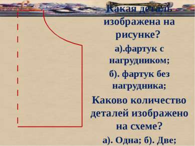 б Какая деталь изображена на рисунке? а).фартук с нагрудником; б). фартук без...