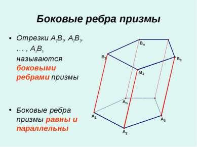 Отрезки A1B1, A2B2, … , AnBn называются боковыми ребрами призмы Боковые ребра...