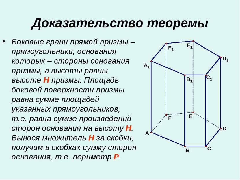 Доказательство теоремы Боковые грани прямой призмы – прямоугольники, основани...
