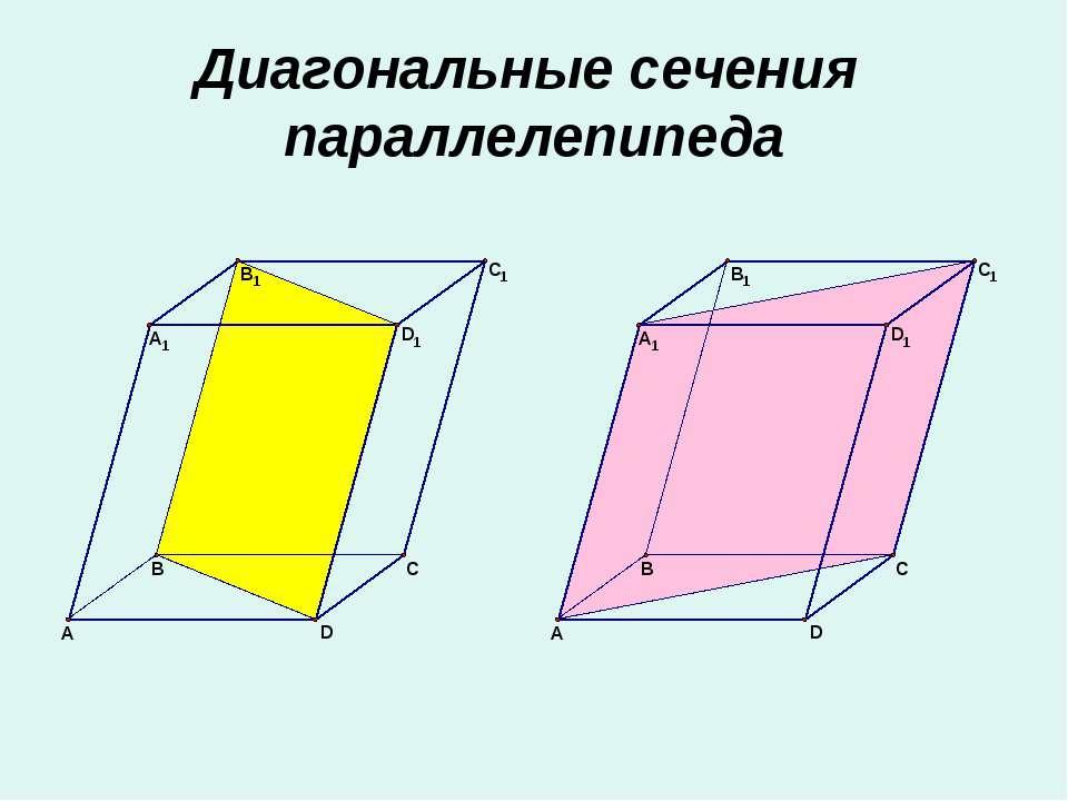 Диагональные сечения параллелепипеда