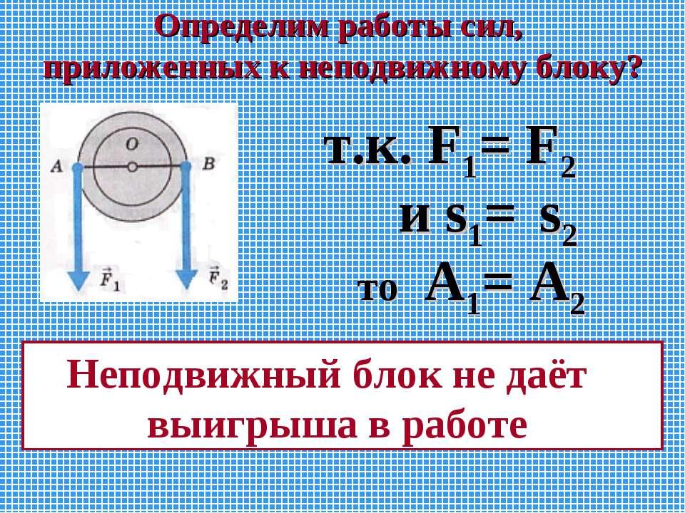 Определим работы сил, приложенных к неподвижному блоку? т.к. F1= F2 и s1= s2 ...