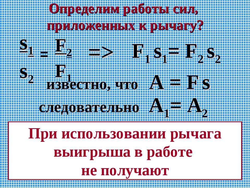 Определим работы сил, приложенных к рычагу? F1 s1= F2 s2 s1 s2 F2 F1 = => изв...