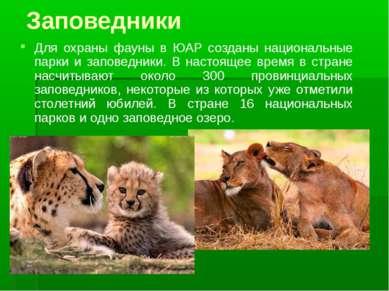 Заповедники Для охраны фауны в ЮАР созданы национальные парки и заповедники. ...