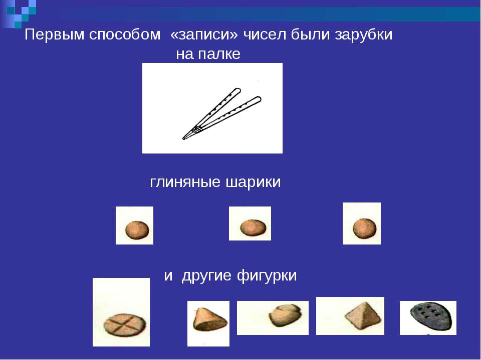 Первым способом «записи» чисел были зарубки на палке глиняные шарики и другие...