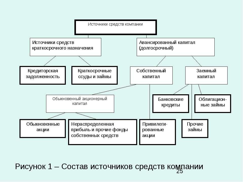 Рисунок 1 – Состав источников средств компании