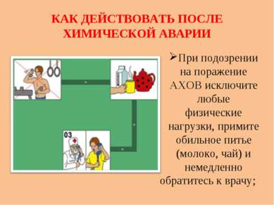 КАК ДЕЙСТВОВАТЬ ПОСЛЕ ХИМИЧЕСКОЙ АВАРИИ При подозрении на поражение АХОВ искл...