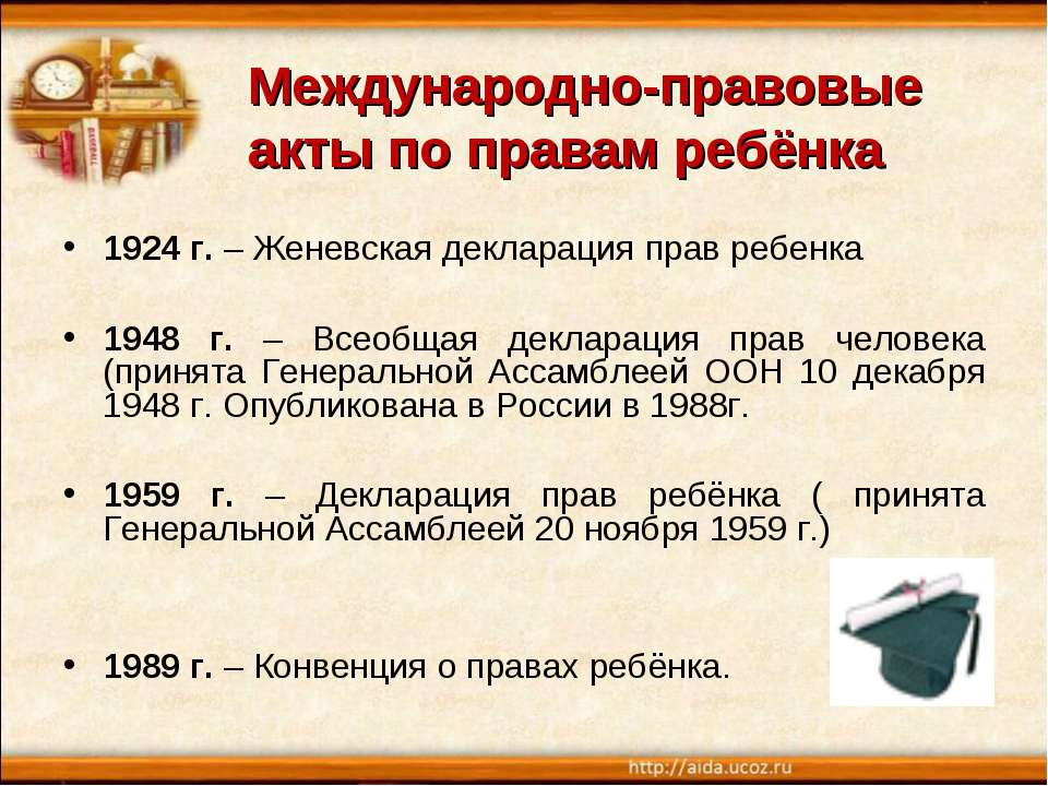 Международно-правовые акты по правам ребёнка 1924 г. – Женевская декларация п...