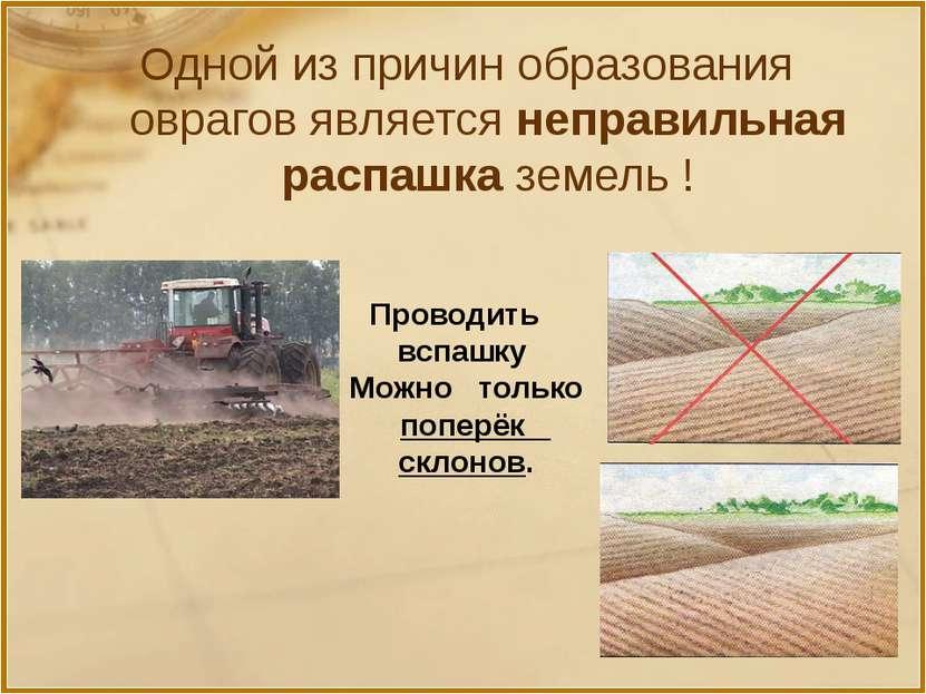 Одной из причин образования оврагов является неправильная распашка земель ! П...