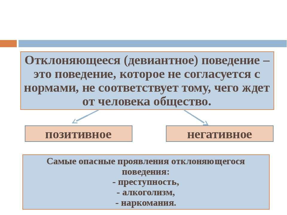 Отклоняющееся (девиантное) поведение Отклоняющееся (девиантное) поведение – э...