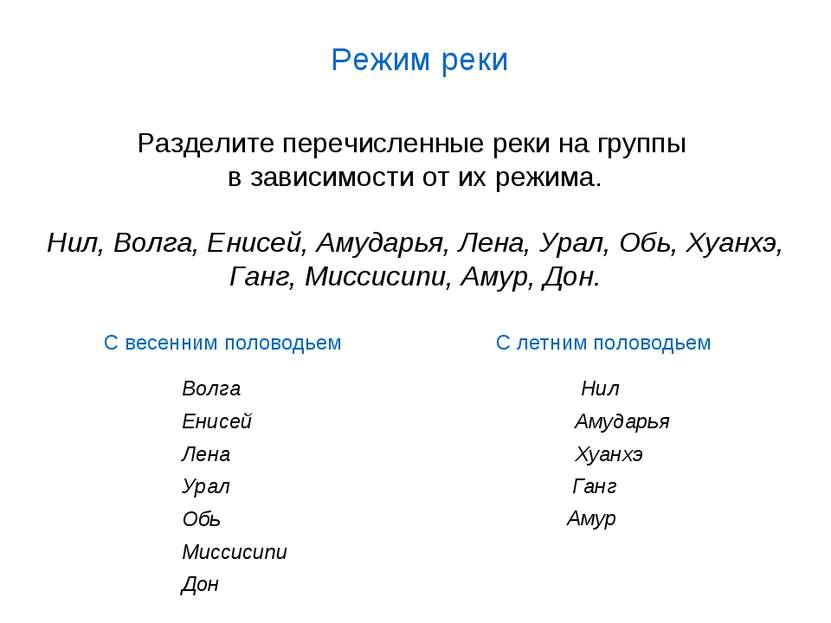 Разделите перечисленные реки на группы в зависимости от их режима. Нил, Волга...