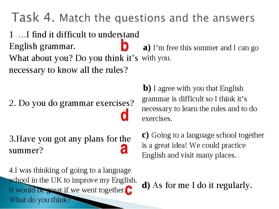 b d a c 1 . …I find it difficult to understand English grammar. What about yo...