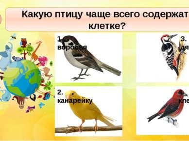 Какую птицу чаще всего содержат в клетке? А3 1. воробья З. дятла 4. клеста 2....