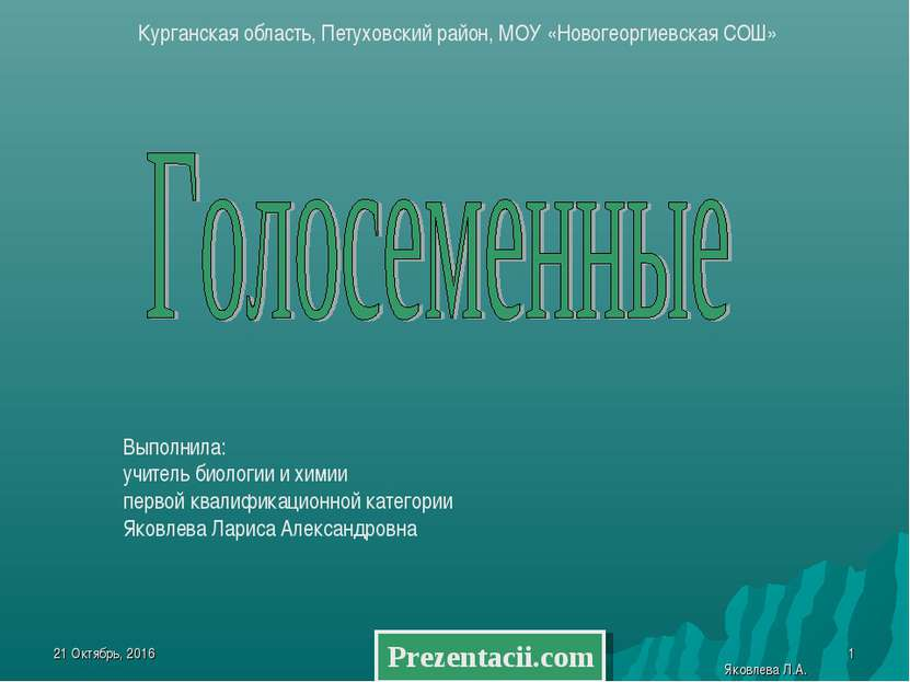 * Яковлева Л.А. * Курганская область, Петуховский район, МОУ «Новогеоргиевска...