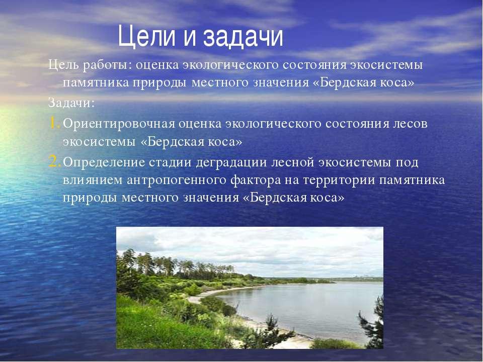 Цели и задачи Цель работы: оценка экологического состояния экосистемы памятни...