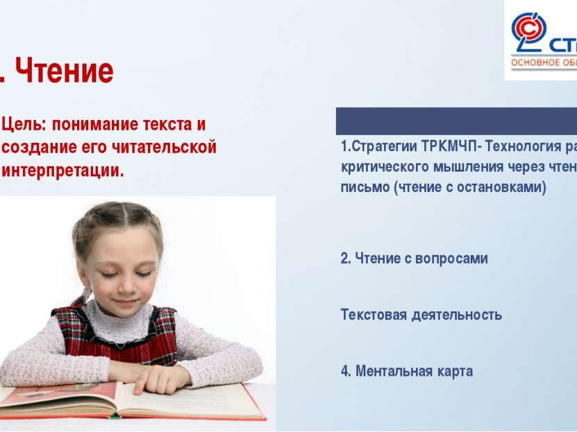 2. Чтение Цель: понимание текста и создание его читательской интерпретации. 1...