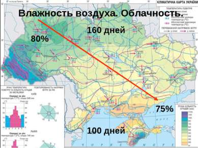 160 дней 75% 80% Влажность воздуха. Облачность. 100 дней