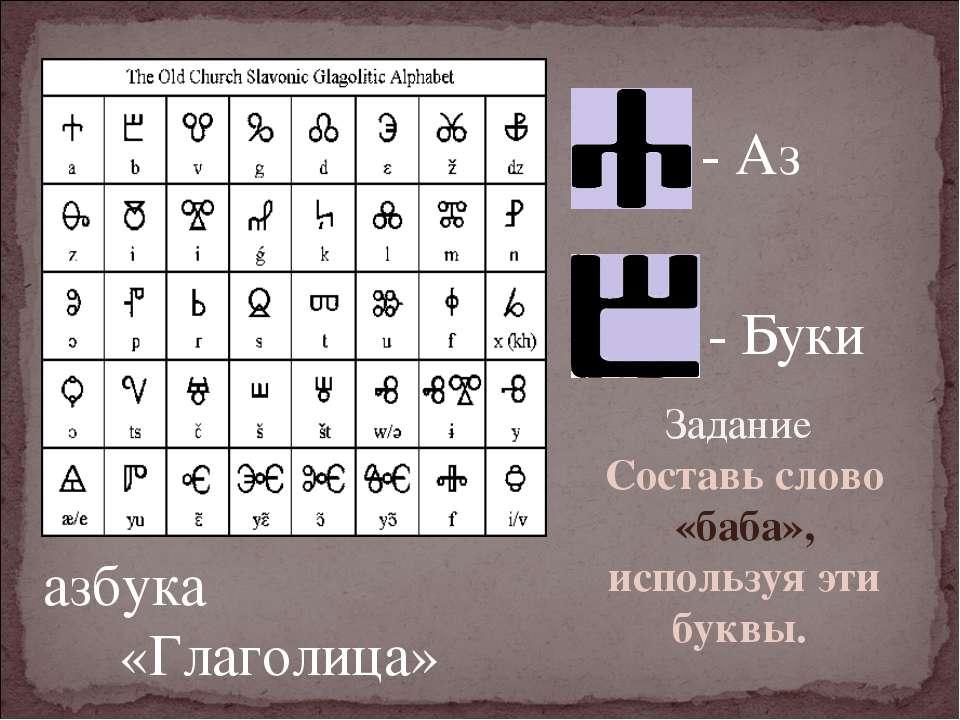 - Буки - Аз азбука «Глаголица» Задание Составь слово «баба», используя эти бу...