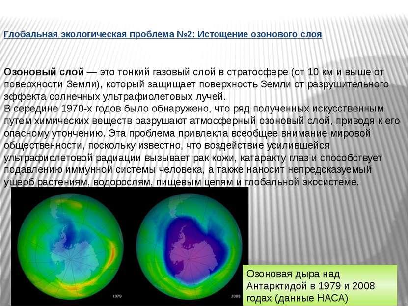 Глобальная экологическая проблема №2: Истощение озонового слоя Озоновый слой ...