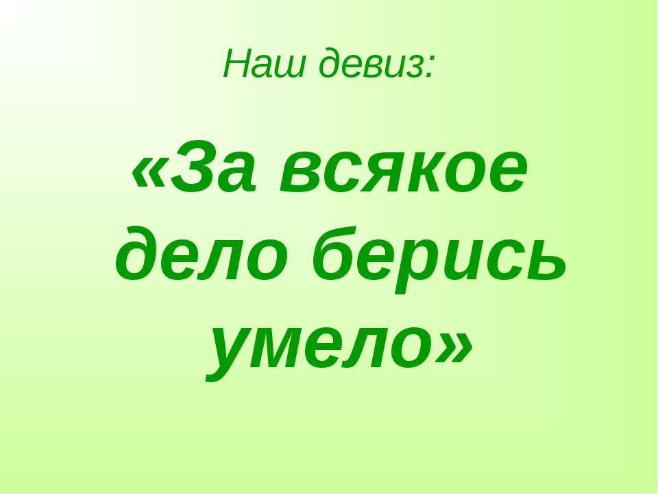 Наш девиз: «За всякое дело берись умело»