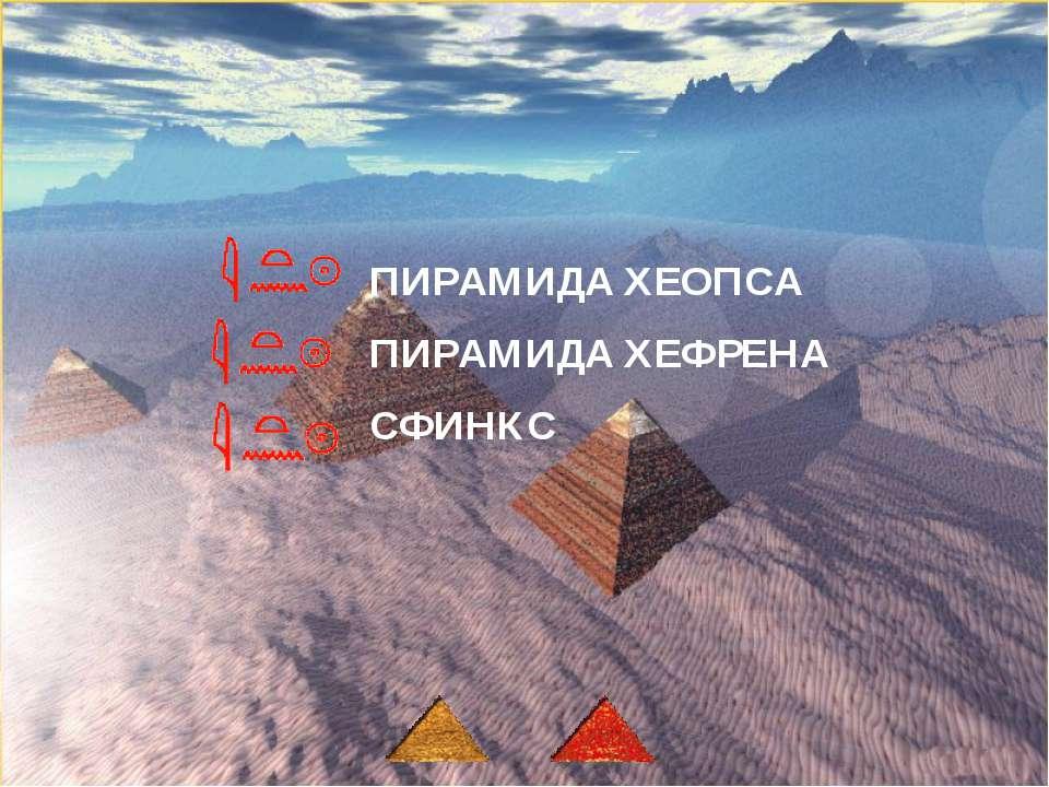 ПИРАМИДА ХЕОПСА ПИРАМИДА ХЕФРЕНА СФИНКС