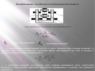 Трансформаторы с неподвижным подмагничиваемым шунтом Схема трансформатора с н...