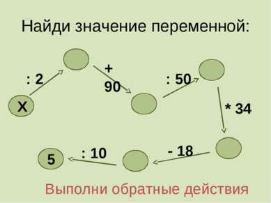 Найди значение переменной: + 90 : 2 X : 10 - 18 * 34 : 50 5 Выполни обратные ...