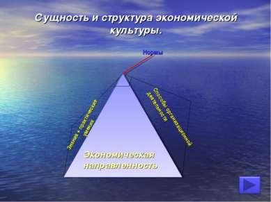 Сущность и структура экономической культуры. Нормы Способы организационной де...