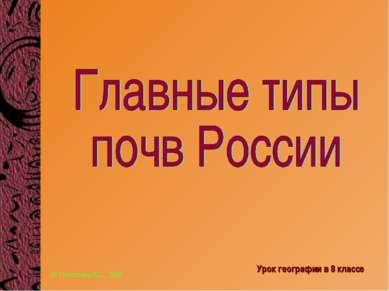 Урок географии в 8 классе © Николаева А.С., 2006