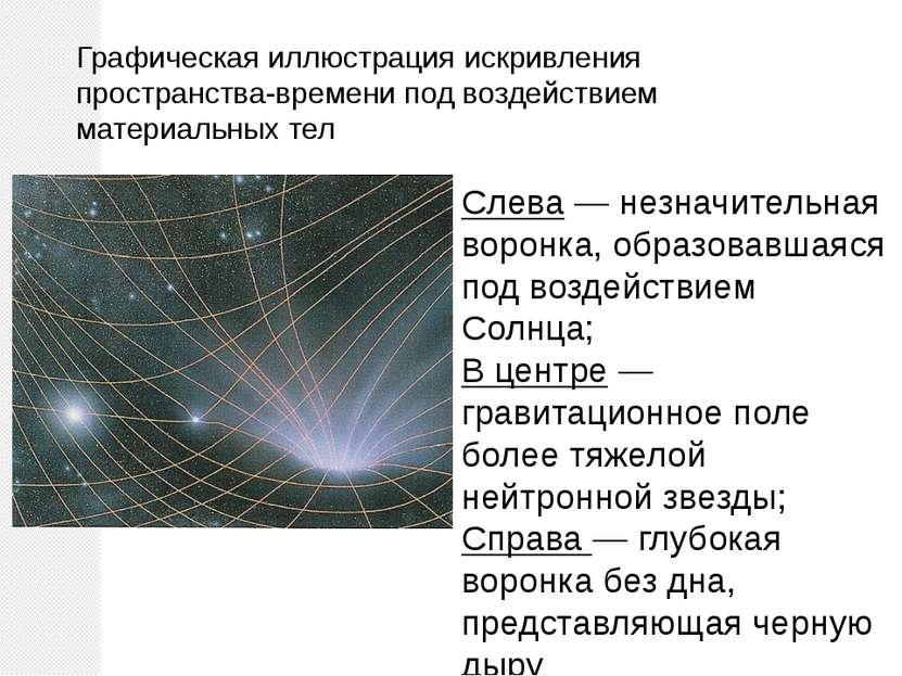 Графическая иллюстрация искривления пространства-времени под воздействием мат...