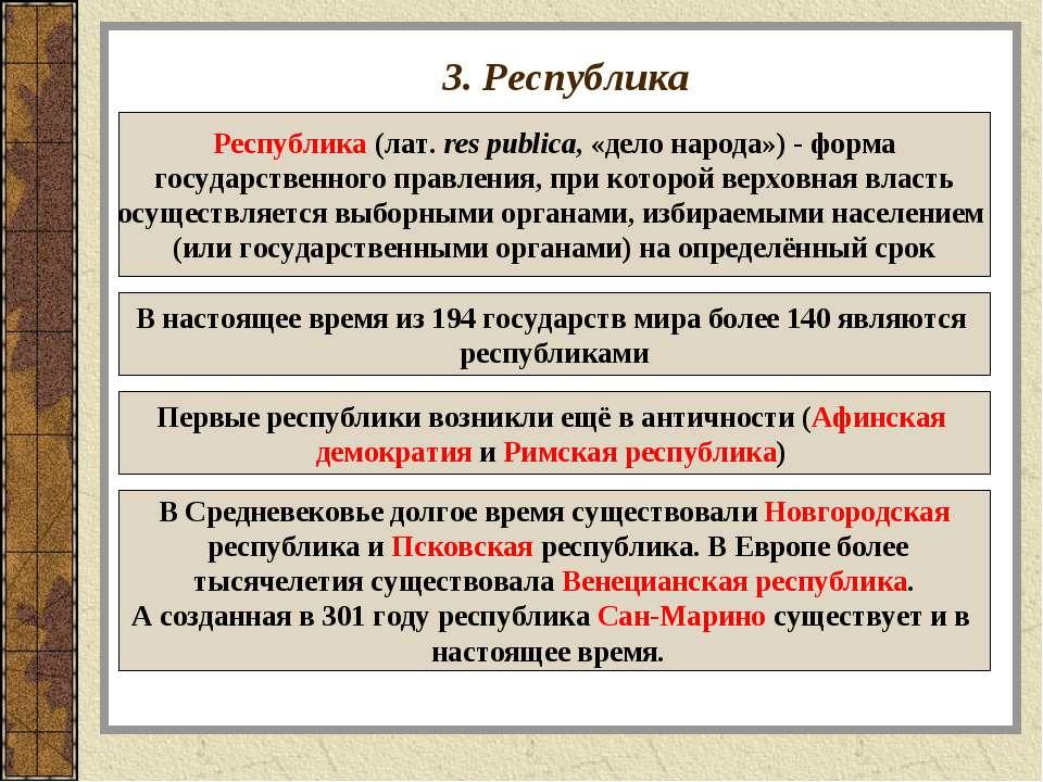 3. Республика Республика (лат.res publica, «дело народа»)- форма государств...