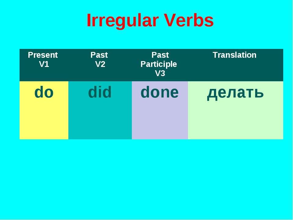 Irregular Verbs Present V1 Past V2 Past Participle V3 Translation do did done...
