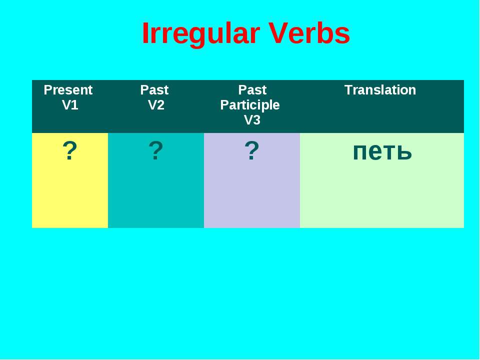Irregular Verbs Present V1 Past V2 Past Participle V3 Translation ? ? ? петь