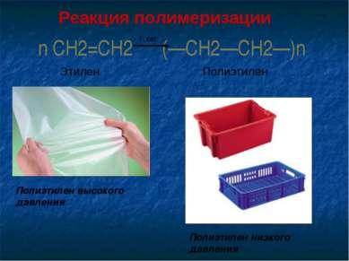 n CH2=CH2 (—CH2—CH2—)n t , кат Этилен Полиэтилен Полиэтилен высокого давления...