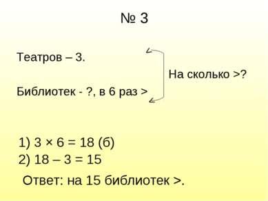 № 3 Театров – 3. На сколько >? Библиотек - ?, в 6 раз > > > 1) 3 × 6 = 18 (б)...