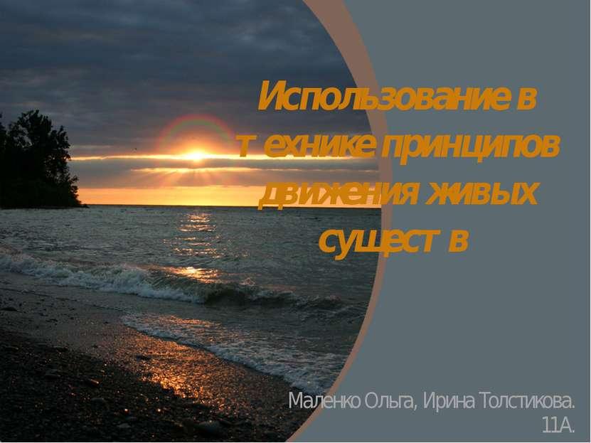 Использование в технике принципов движения живых существ Маленко Ольга, Ирина...
