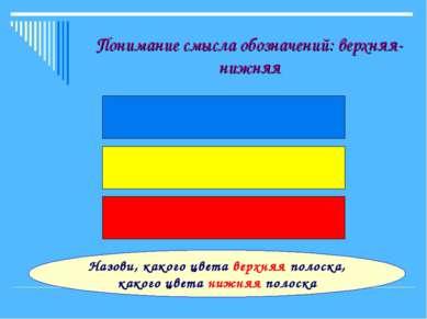 Понимание смысла обозначений: верхняя-нижняя Назови, какого цвета верхняя пол...