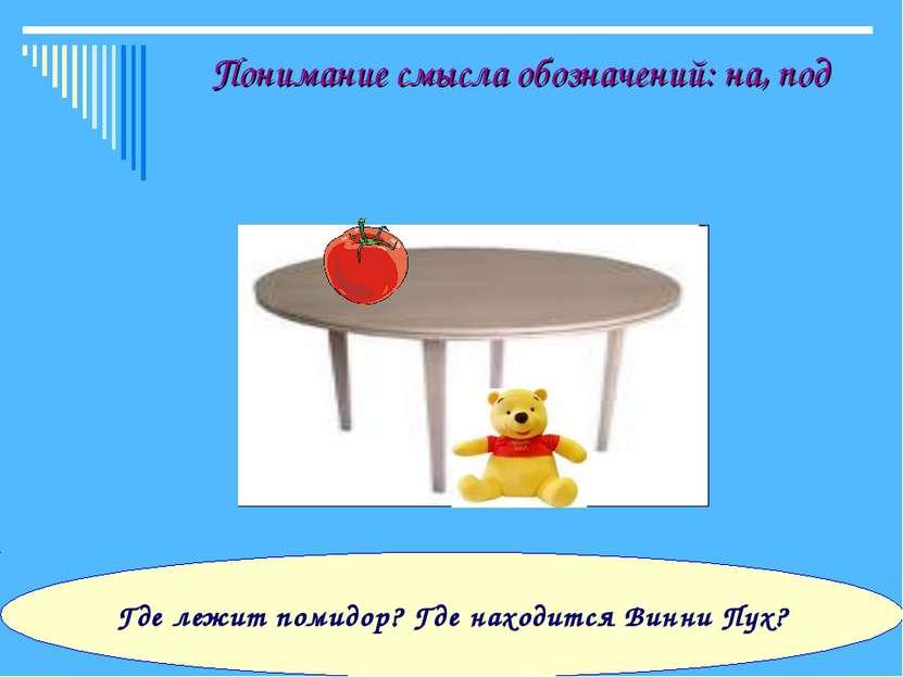 Понимание смысла обозначений: на, под Где лежит помидор? Где находится Винни ...