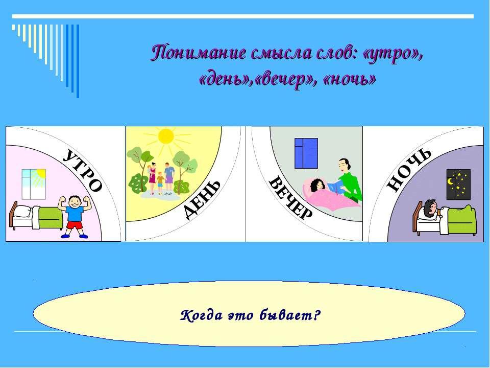 Понимание смысла слов: «утро», «день»,«вечер», «ночь» Когда это бывает?
