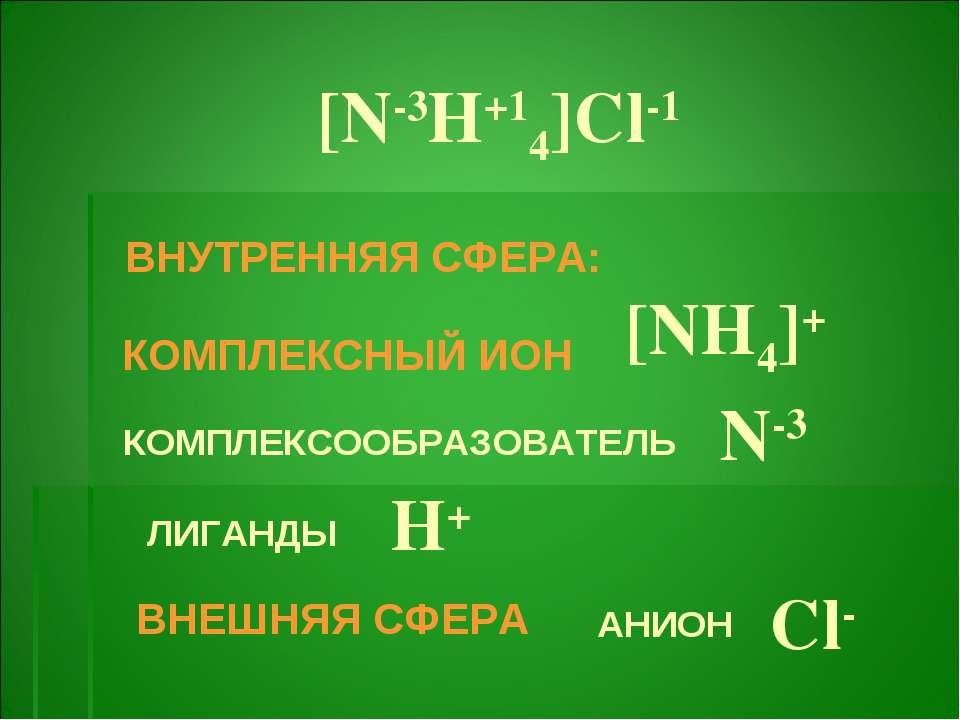 [N-3H+14]Cl-1 КОМПЛЕКСНЫЙ ИОН [NH4]+ ВНУТРЕННЯЯ СФЕРА: КОМПЛЕКСООБРАЗОВАТЕЛЬ ...
