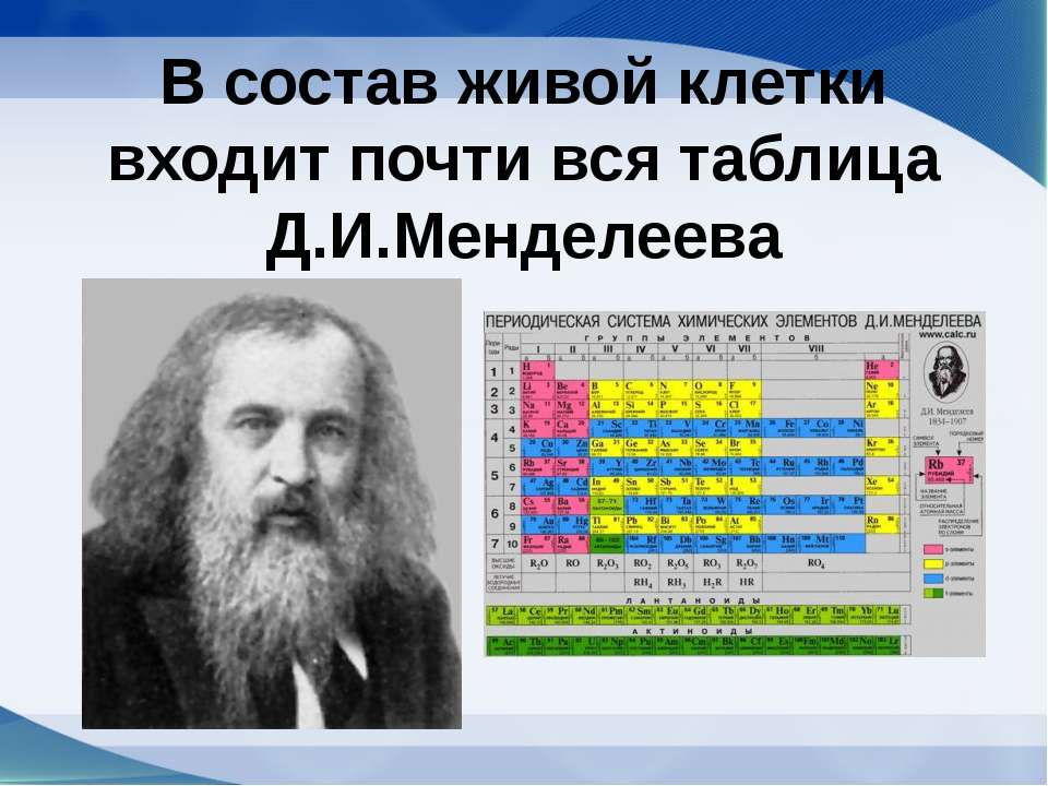 В состав живой клетки входит почти вся таблица Д.И.Менделеева