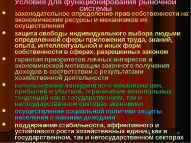 Условия для функционирования рыночной системы законодательное определение пра...