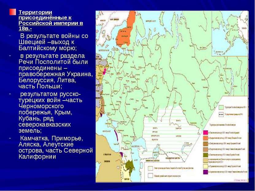 Территории присоединённые к Российской империи в 18в.- В результате войны со ...