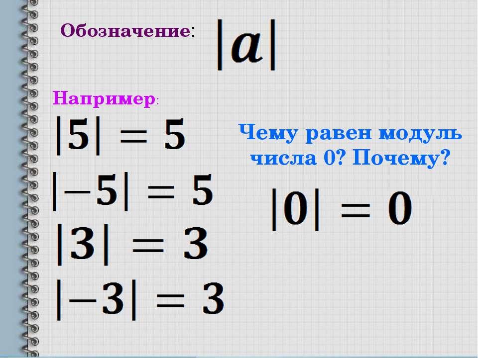 Обозначение: Например: Чему равен модуль числа 0? Почему?