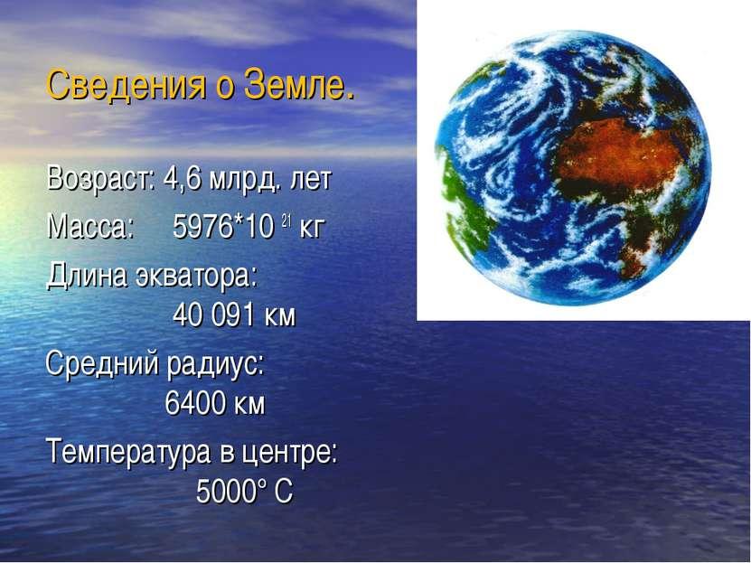 Сведения о Земле. Возраст: 4,6 млрд. лет Масса: 5976*10 21 кг Длина экватора:...