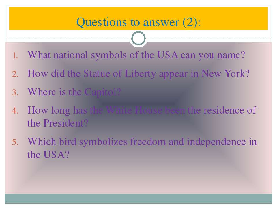What national symbols of the USA can you name? How did the Statue of Liberty ...