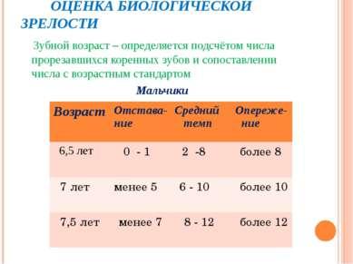 ОЦЕНКА БИОЛОГИЧЕСКОЙ ЗРЕЛОСТИ Зубной возраст – определяется подсчётом числа п...