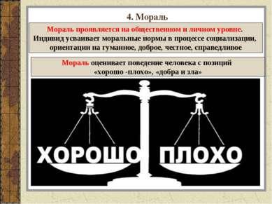 4. Мораль Мораль оценивает поведение человека с позиций «хорошо -плохо», «доб...