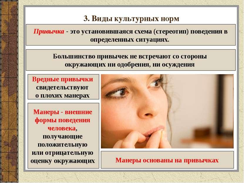 3. Виды культурных норм Привычка - это установившаяся схема (стереотип) повед...